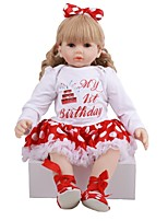 cheap -FeelWind 24 inch Reborn Doll Baby & Toddler Toy Reborn Toddler Doll Baby Girl Gift Cute Lovely Parent-Child Interaction Tipped and Sealed Nails 3/4 Silicone Limbs and Cotton Filled Body LV089 with