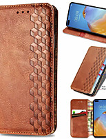 cheap -Checkered Leather Case For Huawei Y6P / Y5P / Y8P / P smart 2020 P40 P40Pro  Magnet Flip Book Case Cover on For Huawei Honor 30 30Pro 30s 9A 9S Nova 7 7SE 7I 7Pro 6SE 10S