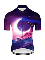 cheap -21Grams Men's Short Sleeve Cycling Jersey Nylon Polyester Red+Blue 3D Rocket Bike Jersey Top Mountain Bike MTB Road Bike Cycling Breathable Quick Dry Ultraviolet Resistant Sports Clothing Apparel