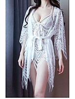 cheap -Women's Lace Cut Out Mesh Suits Nightwear Jacquard Solid Colored White / Black / Red One-Size
