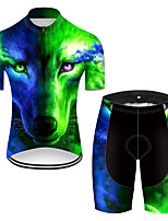 cheap -21Grams Men's Short Sleeve Cycling Jersey with Shorts Nylon Polyester Black / Green Gradient Animal Wolf Bike Clothing Suit Breathable 3D Pad Quick Dry Ultraviolet Resistant Reflective Strips Sports