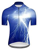 Недорогие -21Grams Муж. С короткими рукавами Велокофты Нейлон Полиэстер Синий 3D Lightning Градиент Велоспорт Джерси Верхняя часть Горные велосипеды Шоссейные велосипеды / Слабоэластичная / Дышащий / Дышащий