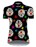 cheap -21Grams Women's Short Sleeve Cycling Jersey Nylon Polyester Black / Yellow Skull Floral Botanical Funny Bike Jersey Top Mountain Bike MTB Road Bike Cycling Breathable Quick Dry Ultraviolet Resistant