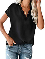 cheap -Women's T-shirt Solid Colored Tops V Neck Daily White Black Red S M L XL 2XL