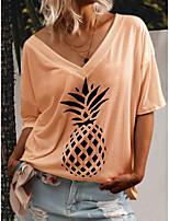 cheap -Women's Maternity T-shirt Fruit V Neck Tops Fall White Yellow Orange