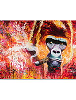 cheap -Smoking Orangutan Graffiti Canvas Paintings On The Wall Posters And Prints Modern Animals Wall Art Canvas Pictures Room Decor