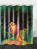 cheap -African Girl on Green Background Shower Curtains & Hooks Modern Polyester New Design
