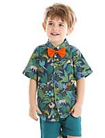 cheap -Kids Boys' Basic Print Short Sleeve Clothing Set Green