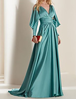 cheap -A-Line Elegant Beautiful Back Engagement Formal Evening Dress V Neck Long Sleeve Sweep / Brush Train Satin with Pleats 2020