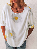 cheap -Women's T-shirt Floral Tops Round Neck Daily White Black Blue S M L XL 2XL 3XL 4XL 5XL