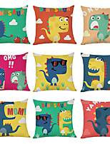 cheap -9 pcs Linen Pillow Cover, Cartoon Dinosaur Casual Modern Square Traditional Classic