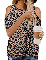 cheap -Women's Blouse Leopard Tops Round Neck Basic Daily Summer Light Brown White Black S M L XL 2XL / Going out