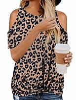 Недорогие -Жен. Блуза Леопард Верхушки Круглый вырез Классический Повседневные Лето Светло-коричневый Белый Черный S M L XL 2XL / На выход