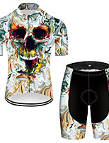 cheap -21Grams Men's Short Sleeve Cycling Jersey with Shorts Nylon Polyester Black / Blue 3D Novelty Skull Bike Clothing Suit Breathable 3D Pad Quick Dry Ultraviolet Resistant Reflective Strips Sports 3D