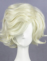 cheap -Cosplay Wig Gokotai Touken Ranbu Curly Cosplay Asymmetrical With Bangs Wig Short Beige Blonde Synthetic Hair 14 inch Women's Anime Cosplay Best Quality Blonde