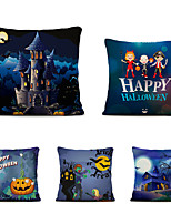 cheap -Set of 5 Linen Throw Pillow Cartoon Halloween Square Decorative Cases Sofa Cushion Covers 18x18