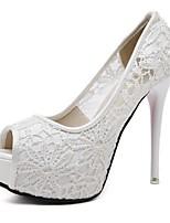 cheap -Women's Heels Summer Stiletto Heel Peep Toe Daily Mesh White / Black