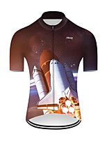 cheap -21Grams Men's Short Sleeve Cycling Jersey Nylon Polyester Black / White 3D Gradient Rocket Bike Jersey Top Mountain Bike MTB Road Bike Cycling Breathable Quick Dry Ultraviolet Resistant Sports