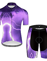 cheap -21Grams Men's Short Sleeve Cycling Jersey with Shorts Nylon Polyester Violet 3D Lightning Gradient Bike Clothing Suit Breathable 3D Pad Quick Dry Ultraviolet Resistant Reflective Strips Sports 3D