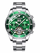 cheap -GUANQIN Men's Mechanical Watch Automatic self-winding Formal Style Outdoor Calendar / date / day Stainless Steel Silver Analog - Digital - White / Green Blue Green Two Years Battery Life / Japanese