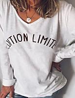 cheap -Women's Letter T-shirt Daily Weekend White / Blue / Yellow / Blushing Pink