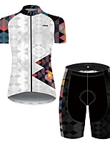 cheap -21Grams Women's Short Sleeve Cycling Jersey with Shorts Nylon Polyester Orange+White Polka Dot 3D Patchwork Bike Clothing Suit Breathable 3D Pad Quick Dry Ultraviolet Resistant Reflective Strips