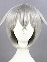 cheap -Cosplay Wig Hotarumaru Touken Ranbu Straight Cosplay Asymmetrical With Bangs Wig Short Silver grey Synthetic Hair 14 inch Women's Anime Cosplay Best Quality Dark Gray