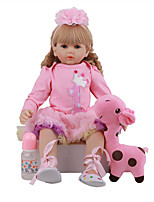 cheap -FeelWind 24 inch Reborn Doll Baby & Toddler Toy Reborn Toddler Doll Baby Girl Gift Cute Lovely Parent-Child Interaction Tipped and Sealed Nails 3/4 Silicone Limbs and Cotton Filled Body LV085 with
