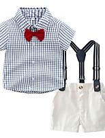cheap -Kids Boys' Basic Check Short Sleeve Clothing Set Navy Blue