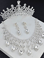 cheap -Women's Crystal Bridal Jewelry Sets Transparent Drop Flower Elegant Vintage Earrings Jewelry White For Wedding Party 1 set