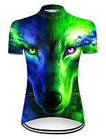 cheap -21Grams Women's Short Sleeve Cycling Jersey Nylon Polyester Blue+Green Gradient Animal Wolf Bike Jersey Top Mountain Bike MTB Road Bike Cycling Breathable Quick Dry Ultraviolet Resistant Sports