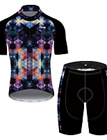 cheap -21Grams Women's Short Sleeve Cycling Jersey with Shorts Nylon Polyester Black / Blue Plaid / Checkered 3D Gradient Bike Clothing Suit Breathable 3D Pad Quick Dry Ultraviolet Resistant Reflective