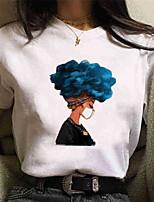 cheap -Women's T-shirt Geometric Tops White Black Blue / Short Sleeve