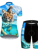 cheap -21Grams Women's Short Sleeve Cycling Jersey with Shorts Nylon Polyester Blue Animal Tiger Bike Clothing Suit Breathable 3D Pad Quick Dry Ultraviolet Resistant Reflective Strips Sports Animal Mountain