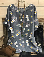 cheap -Women's Blouse Floral Tops - Print Round Neck Loose Cotton Basic Daily Summer Red Green Gray M L XL 2XL