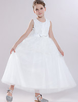 cheap -Ball Gown Round Floor Length Tulle Junior Bridesmaid Dress with Bow(s) / Tier