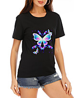 cheap -Women's T-shirt Graphic Prints Round Neck Tops Loose Cotton Basic Summer Black