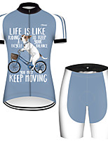 cheap -21Grams Women's Short Sleeve Cycling Jersey with Shorts Nylon Polyester Blue / White Dog Animal Funny Bike Clothing Suit Breathable 3D Pad Quick Dry Ultraviolet Resistant Reflective Strips Sports Dog