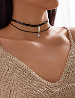 cheap -Women's Choker Necklace Stacking Stackable Lucky Simple Classic Trendy Fashion Chrome Black 38 cm Necklace Jewelry 1pc For Anniversary Party Evening Street Beach Festival