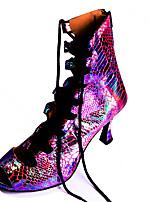 cheap -Women's Dance Shoes Latin Shoes Heel Glitter Flared Heel Customizable Dark Purple / Performance / Leather / Practice