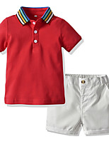 cheap -Kids Boys' Basic Color Block Short Sleeve Clothing Set Red