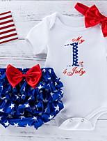 cheap -Baby Girls' Basic Galaxy Short Sleeve Regular Clothing Set White