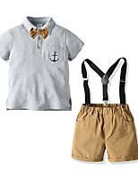 cheap -Kids Boys' Basic Solid Colored Short Sleeve Clothing Set Gray