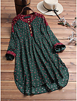 cheap -Women's Blouse Floral Tops - Print Standing Collar Loose Cotton Basic Daily Spring Fall Blue Red Green M L XL 2XL 3XL