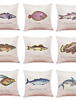 cheap -9 pcs Linen Pillow Cover Creative Hand-painted Fish Linen Pillow Case Car Pillow Cushion Sofa Pillow Pillow Office Nap Pillow
