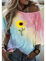 cheap -Women's T-shirt Graphic Tops Round Neck Loose Daily Summer Blue Purple Yellow S M L XL 2XL 3XL