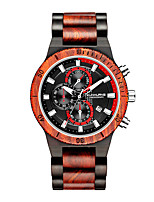 cheap -Sport Watch Quartz Modern Style Stylish Wood Calendar / date / day Noctilucent Analog Cool Big Face - Black Red Brown