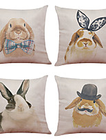 cheap -4 pcs Linen Pillow Cover Cute Bunny Linen Pillow Case Car Pillow Cushion Sofa Pillow Pillow Office Nap Pillowshion Sofa Pillow Pillow Office Nap Pillow