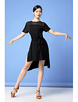cheap -Latin Dance Dress Split Women's Training Performance Short Sleeve Natural Modal Tulle