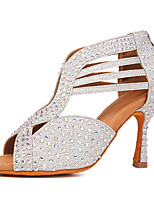 cheap -Women's Latin Shoes / Salsa Shoes Synthetics Zipper Heel Rhinestone / Crystals Flared Heel Customizable Dance Shoes Black / Gold / Silver